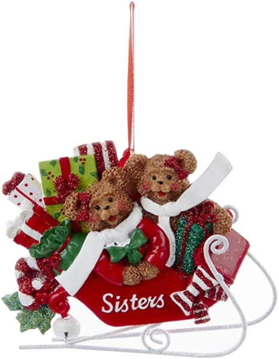 Two Sister Bears On Sled Rosy Red 3 Inch Resin Stone Christmas Figurine Ornament Home Kitchen