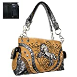 Beautiful Western Horse Satchel Purse w/ Concealed Handgun Weapon Gun Pocket (Tan)