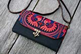 Changnoi Boho Crossbody Wallet with Hmong Embroidered in Red, Bohemian Purse for Women with Leather Strap