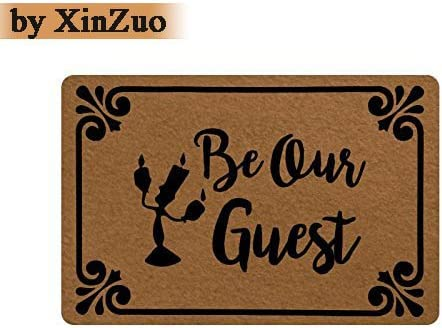 XinZuo Entrance Doormat Be Our Guest Indoor Outdoor Door Mat Non-Slip Doormat 23.6 by 15.7 Inch Machine Washable Non-Woven Fabric