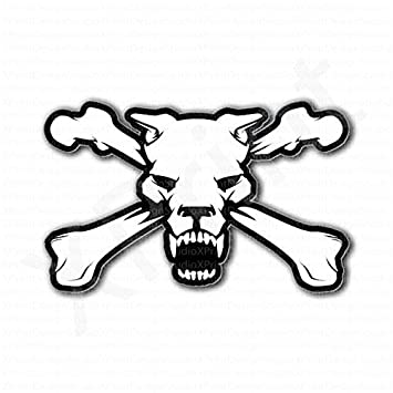 Pitbull dog skull crossbones sticker