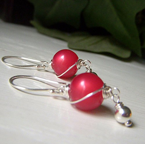 Earrings Lucite Pierced (Vintage Watermelon Red Moonglow Lucite Earrings, Sterling Silver, Wirewrapped Round Dangle)