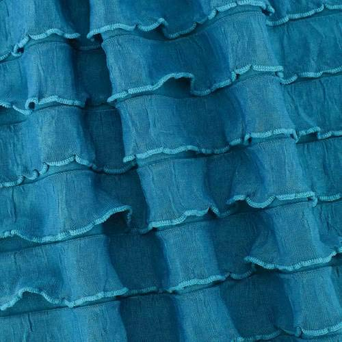 Dark Teal Sheer Ruffle Knit, Fabric by The -