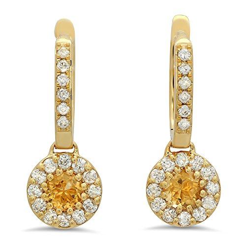 14K Yellow Gold Round Citrine & White Diamond Ladies Circle Halo Style Dangling Drop Earrings