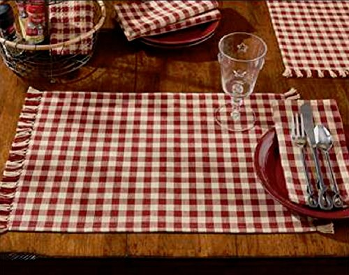 Set of 4 Park Designs Country Red and Tan Check Placemats -