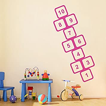 Kids Game Hopscotch Large Pattern Wall Stickers for Children Bedroom Living Room Nursery Ground Home Decor Removable Decals