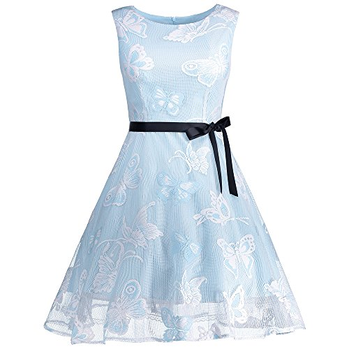 Papillon Manches Vintage Femmes Charmma Bal En Tulle Brodé Lumière Mini Robe Bleue