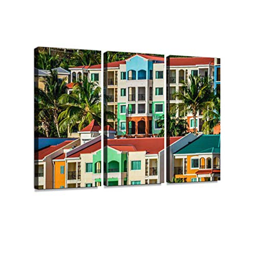 Colorful Buildings in The Virgin Islands 3 Pieces Print On Canvas Wall Artwork Modern Photography Home Decor Unique Pattern Stretched and Framed 3 Piece (Best Place In Virgin Islands)
