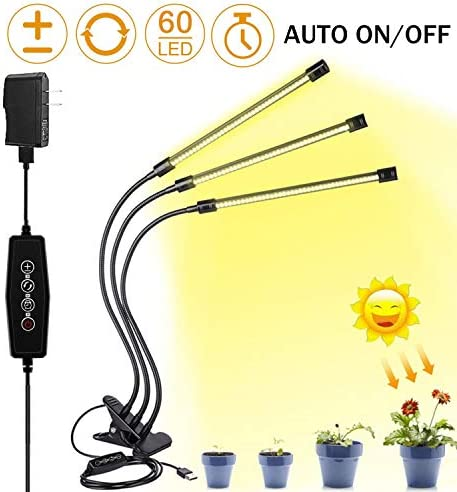 LED Grow Light for Indoor Plant,Elaine Upgraded Version 60W LED Auto ON Off Timer Full Spectrum Plant Lights 3 6 12H Timing 5 Dimmable Levels for House Garden Hydroponics Succulent Growing