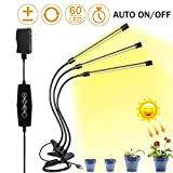 LED Grow Light for Indoor Plant,Elaine 30W LED Auto ON/Off Timer Full Spectrum Plant Lights 3/6/12H Timing 5 Dimmable Levels for House Garden Hydroponics Succulent Growing