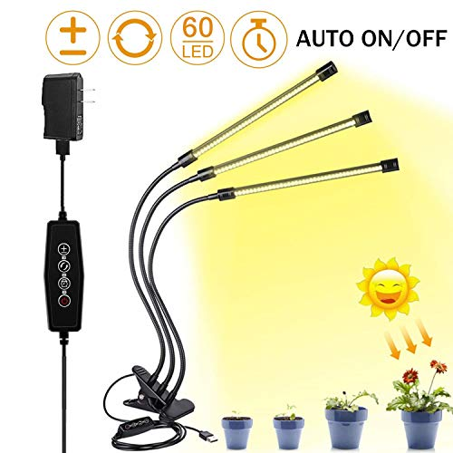 LED Grow Light for Indoor Plant,Elaine 30W LED Auto ON/Off Timer Full Spectrum Plant Lights 3/6/12H Timing 5 Dimmable Levels for House Garden Hydroponics Succulent Growing (Best Light For Indoor Plants)