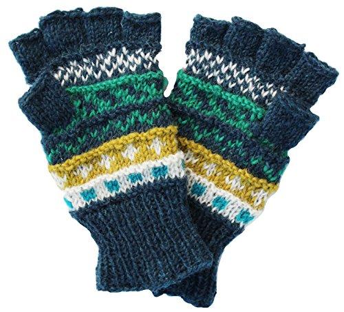 Lakhays Warm Winter Hand Knit Woolen Gloves/Handwarmer-Blue-One Size