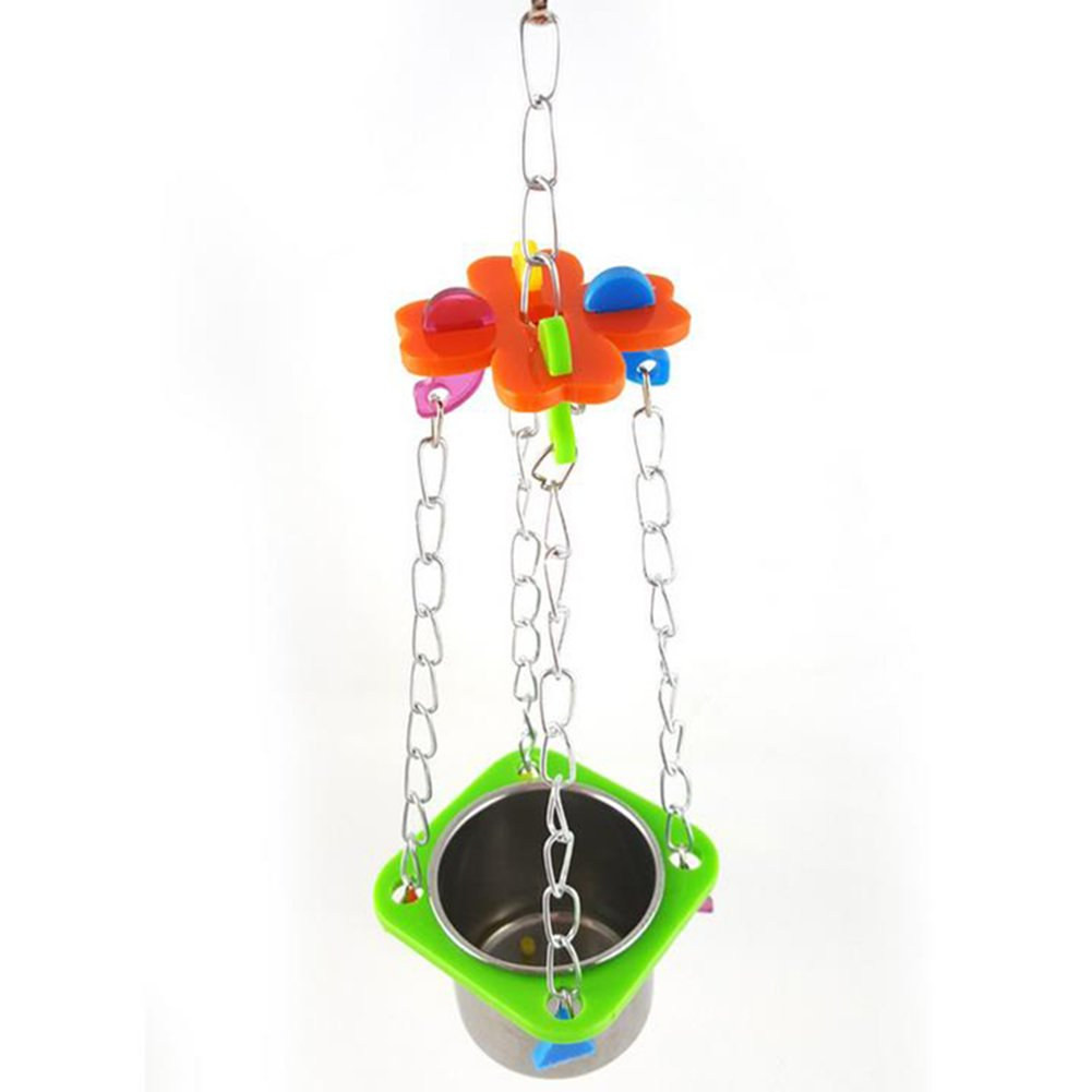 Da.Wa 1Pcs Birds Basin Colorful Acacia Parrots Hanging Food Basin Feed Bowl Swing Cage Toys for Parakeet by Da.Wa (Image #2)
