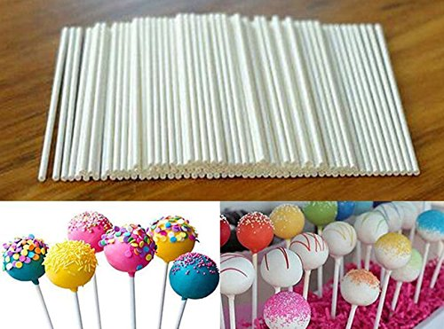 100 pcs White Pop Plastic Sticks Chocolate Cake Lollipop Sweet Candy Making Free shipping (Beaded Canister)