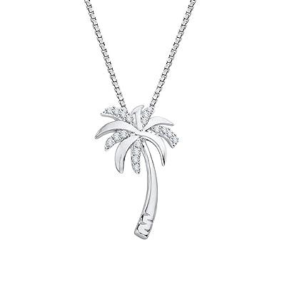 Amazon diamondpalm tree pendant necklace in sterling silver amazon diamondpalm tree pendant necklace in sterling silver 110 cttw color jk clarity si2 i1 jewelry aloadofball Images