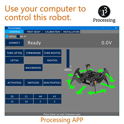 Freenove Hexapod Robot Kit with Remote Control, Compatible with Arduino Raspberry Pi Processing, Spider Walking Crawling STEAM STEM Project by Freenove (Image #3)