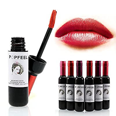 Popfeel 6 Pcs Wine Liquid Lipstick Lady Long Lasting Make Up Gloss Matte Lip Sticks Wine Bottle Cover (1 Set)