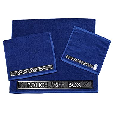 Doctor Who Tardis 3 Piece Bath Towel Set (Blue)