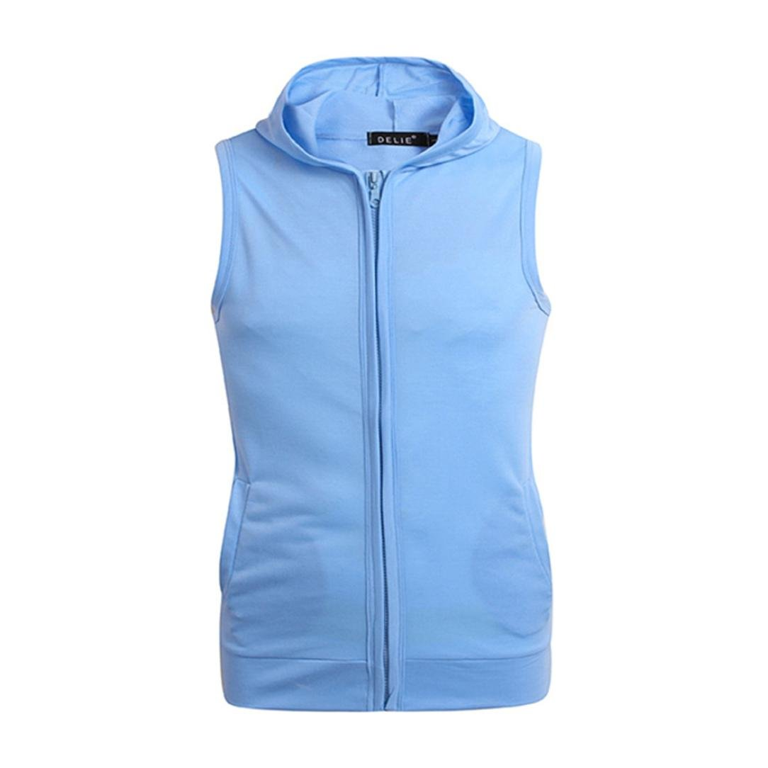 Allywit Mens Casual Lightweight Sleeveless Zip-up Vest Tank Hoodies Big and Tall