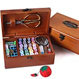 Sewing Basket Sewing Notions and Supplies Wooden Box Wedding Gift Kit with Supplies and Notions, 8.5 x 5.3 x 3Inches