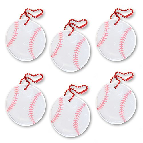 funflector Safety Reflector - Baseball - 6-pack (Dangling Safety Pin)