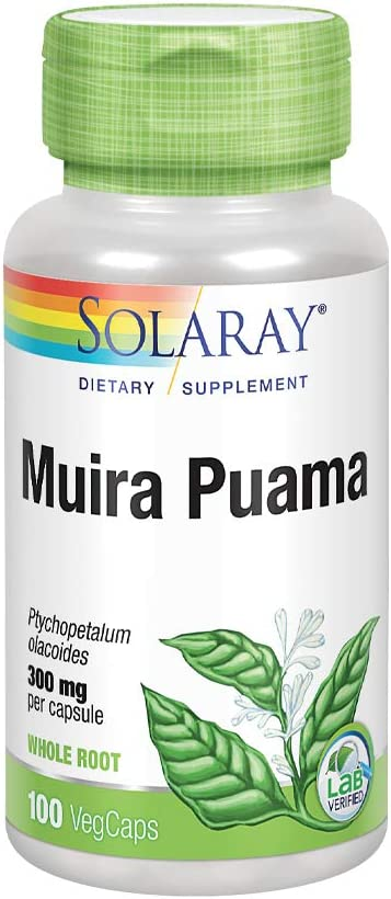 Solaray Muira Puama Root 600 mg | Healthy Energy, Physical Performance & Libido Support | 50 Servings | 100 VegCaps: Health & Personal Care