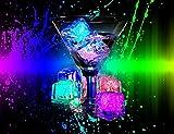 24 Pcs [Flashing Submersible LED Lights] Multi-Color Liquid Sensor Ice Cubes Light LED Glow Light Drinking Wine Wedding Party Decoration (White)