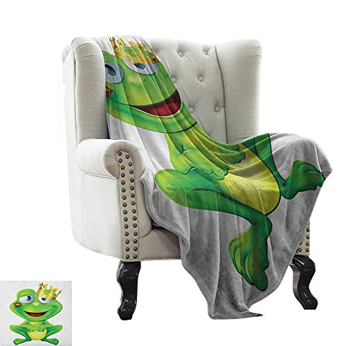 LsWOW Mother Blanket Animal,Frog Prince Character with Gold Crown Lipstick Mark on His Lips Love Valentines, Multicolor Soft Summer Cooling Lightweight Bed Blanket 70