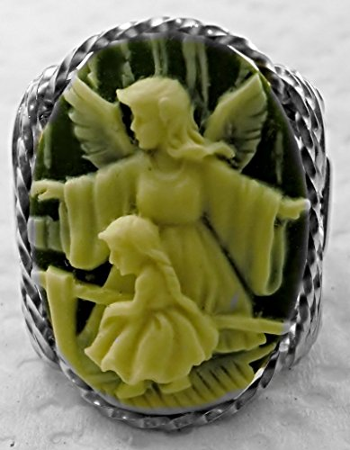 Child Cameo Ring - .925 Sterling Silver or 14k Gold gf Guardian Angel Girl Cameo Ring Green Art Jewelry HGJ