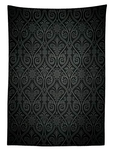 """Ambesonne Damask Tablecloth, Antique Baroque Pattern with Mild Ombre Shade Gothic Victorian Style, Rectangular Table Cover for Dining Room Kitchen Decor, 60"""" X 90"""", Charcoal Grey"""