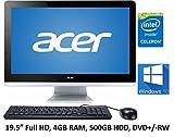 Acer Aspire AZC All-in-One Desktop PC (2016 Premium), 19.5-Inch Full HD Display, Intel Celeron N3150 Processor, 4GB DDR3L Memory, 500GB HDD, DVD±RW, Bluetooth, Windows 10