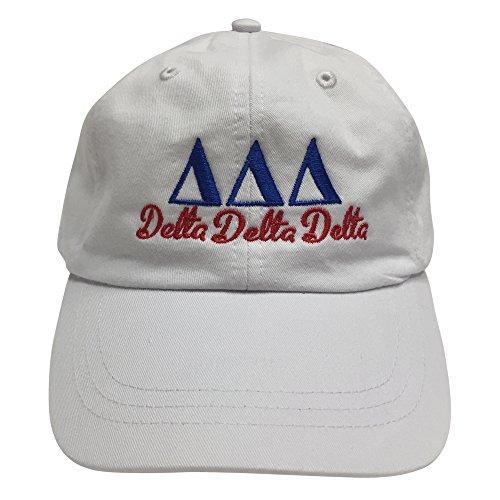 fan products of Delta Delta Delta Tri Delta (S) White Designer Sorority Baseball Hat Greek Letter Sports Cap with Blue/Red Thread One Size Adjustable Strap