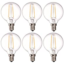 Bulbright 6PACK LED Filament Bulb Dimmable G50/G16.5 Globe 2W LED Light Bulb, E12 Base, Warm White 2700K, 20W Equivalent, 110-120VAC, Dimmable, UL-LISTED (2W E12)