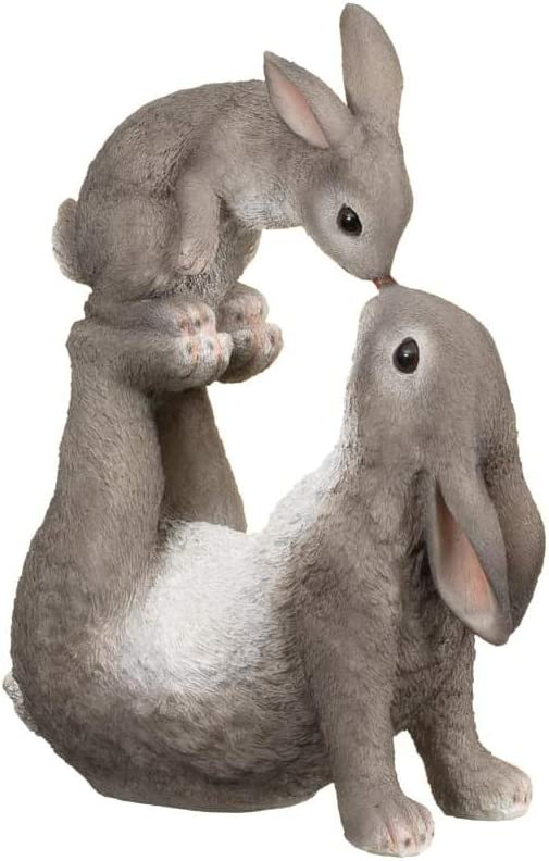 Family Of Rabbits Polyresin Home Garden Patio Ornament 2 Large And 1 Baby