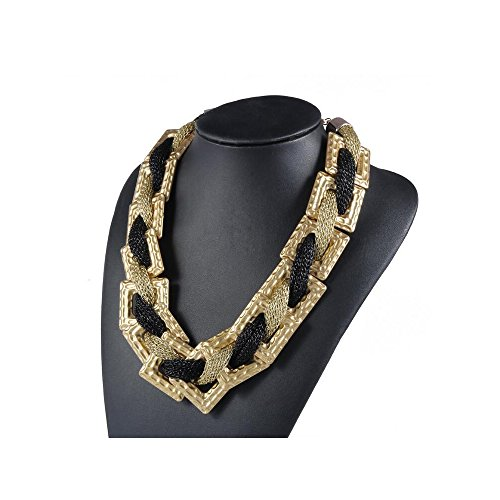 [Darkey Wang Fashion The Influx Of Women Exotic Geometric Squares Necklace£¨gold black£] (Gumdrop Costume Ideas)