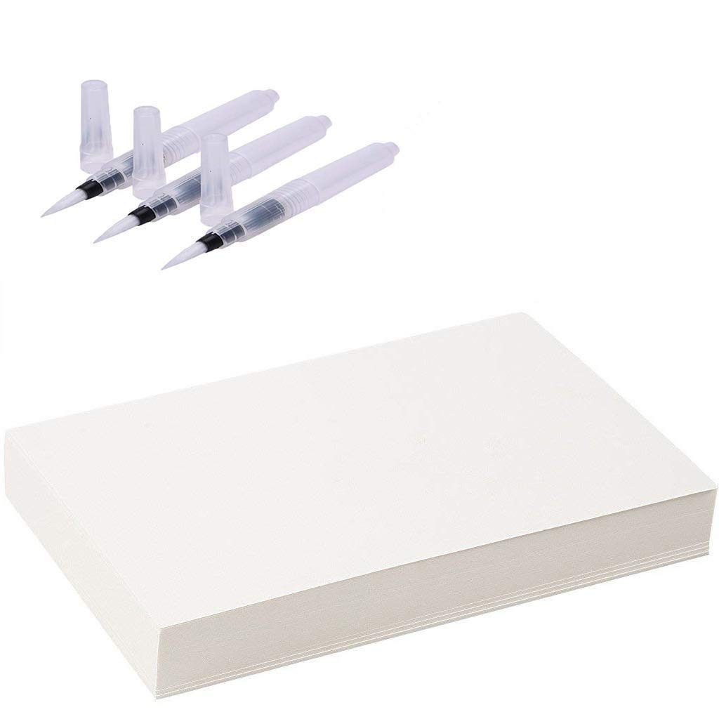 White 100% Cotton Cold Press Watercolour Paper 60 Sheets and Brush Pens 3 Piece U&X