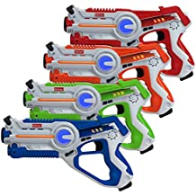 Kidzlane Infrared Laser Tag : Game Mega Pack - Set of 4 - Infrared Laser Gun Indoor and Outdoor Group Activity Fun. Infrared 0.9mW
