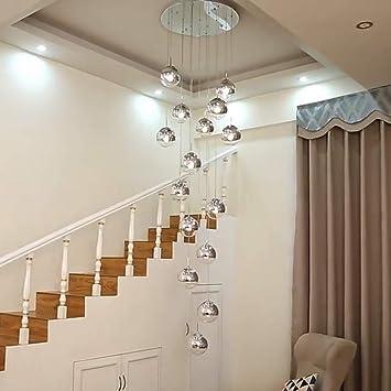 GBX Lámpara de iluminación minimalista moderna para el hogar, lámpara de escalera moderna 15 bolas de cristal Personalidad creativa Sala de estar Luminaria Lámpara colgante larga minimalista, 60 * 25: Amazon.es: Bricolaje y herramientas