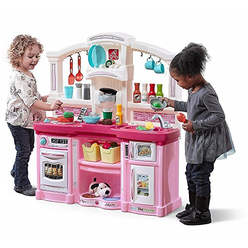 Price comparison product image Just Like Home Fun with Friends Kitchen Playset Pretend Toy Toddler Kids Children Play Together Realistic Appliances Bake Cook and Grow Fun Lights and Sounds,  Pink