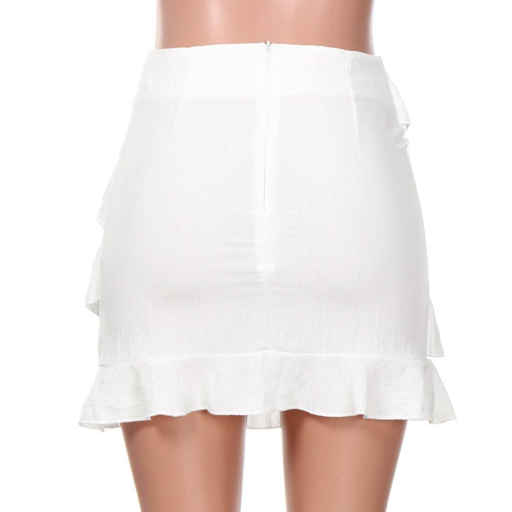 beautyjourney Mini Falda con Volantes Elegante para Mujer Falda de la Cadera del Partido de Bodycon del Color sólido de Cintura Alta Falda Corta Fiesta ...