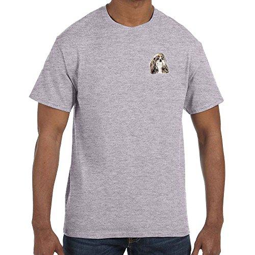 (Cherrybrook Dog Breed Embroidered Mens T-Shirts - X-Large - Sport Grey - Shih Tzu)