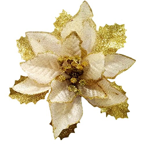 Christmas Glitter Poinsettia Christmas Tree Ornaments Pack Of 12 - Christmas Poinsettias