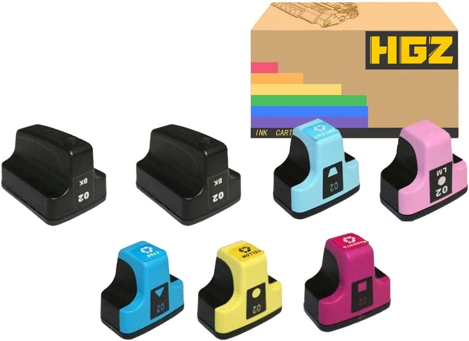 HGZ 7 Pack HP02 XL Remanufactured Replacement for HP 02 Ink Cartridge Use to with HP Photosmart C5180 C7280 C6280 C6180 D7360 D7460 8250 C7200 Printer