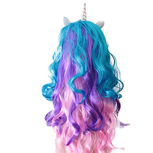 Jili Online Women Unicorn Horn Long Curly Wavy Hair Wigs For Hallowmas Party Costume ()