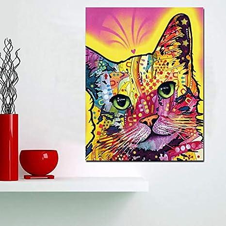 HGlSG HD Imprimir Acuarela Abstracta Gato Abstracto Pintura al óleo sobre Lienzo Arte Pop Animal Imagen de la Pared Pintura de Paisaje Arte de la Pared Lienzo A1 50x70cm