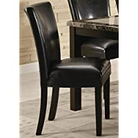 Set of 2 Parson Dining Chairs in Brown Faux Leather