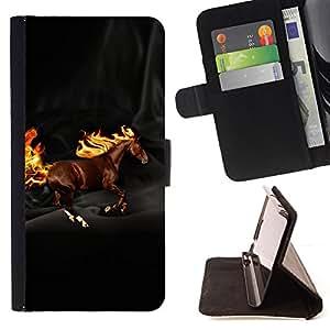 Jordan Colourful Shop - horse wild flames mythical creature brown For Samsung ALPHA G850 - < Leather Case Absorci????n cubierta de la caja de alto impacto > -