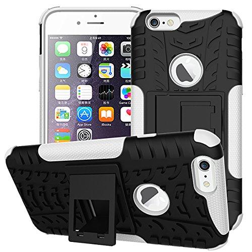 Beiuns pour Apple iPhone 6 (4,7 pouces) Coque en Silicone ultra-résistante TPU Housse Coque avec un support - HH511 Blanc