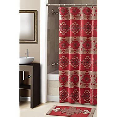 Croscill Sky Country Shower Curtain, 70-Inch by 72-Inch, Red