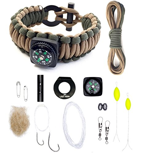 The Ultimate Paracord Survival Kit Bracelet (Large, Army Green + Coyote with Compass)